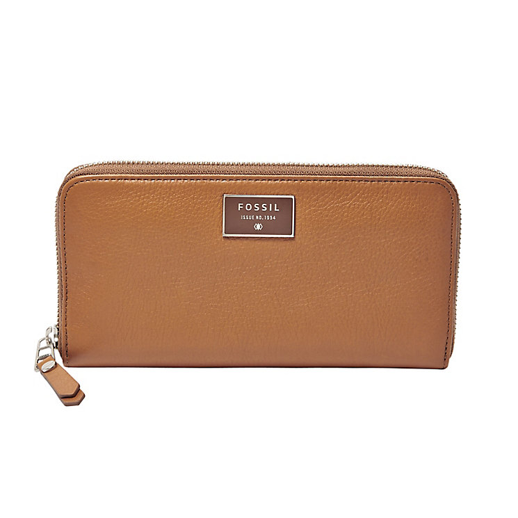 Fossil Dawson ladies' camel leather zip clutch bag - Product number 3078132