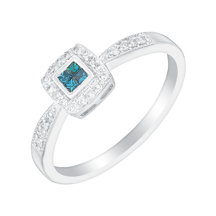 9ct white gold 15pt treated blue and white diamond ring - Product number 3079562