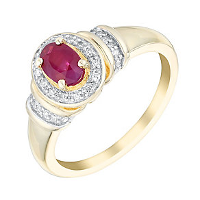 9ct yellow and white gold ruby and diamond ring - Product number 3079988