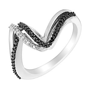 Sterling silver treated black diamond ring - Product number 3080323