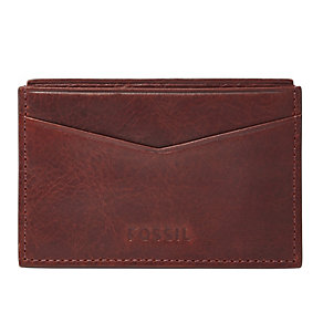 Fossil Ingram burgundy leather card case - Product number 3080455