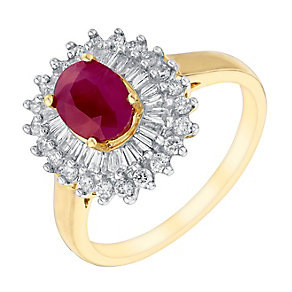 18ct yellow gold 56pt diamond & ruby ring - Product number 3080463
