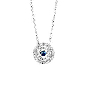 Silver 20pt white diamond blue sapphire double halo pendant - Product number 3081060