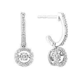 Sterling silver 10pt round cut diamond drop earrings - Product number 3081087