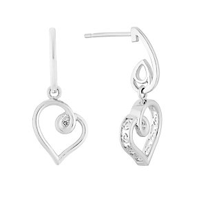 Sterling silver 5pt diamond heart-shaped earrings - Product number 3081206