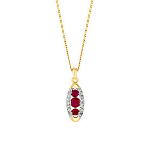 9ct gold 6pt diamond and ruby pendant - Product number 3081249