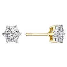 9ct yellow & white gold 25pt diamond cluster daisy earrings - Product number 3081486