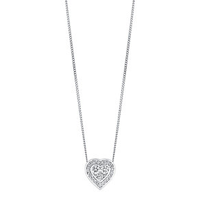 9ct white gold quarter carat diamond heart pendant - Product number 3081508