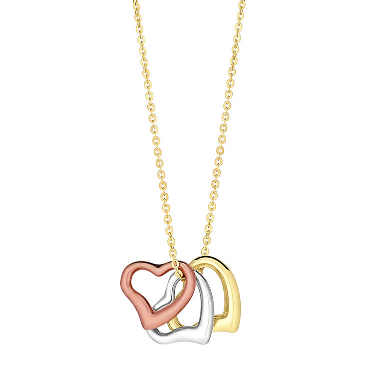 9ct yellow, white & rose gold three angle heart pendant - Product number 3081532