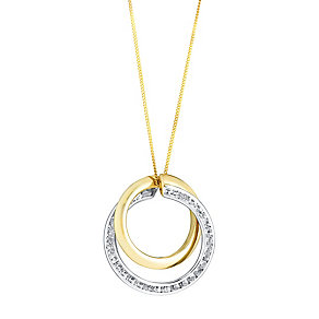 9ct yellow & white gold cubic zirconia double circle pendant - Product number 3081540