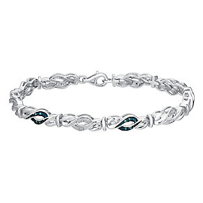 Sterling silver 16pt treated blue & white diamond bracelet - Product number 3081575