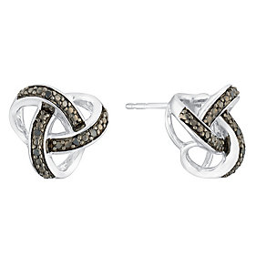 Sterling silver 5pt treated black diamond knot earrings - Product number 3081605