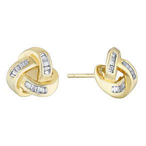 9ct gold 15pt diamond knot earrings - Product number 3081648