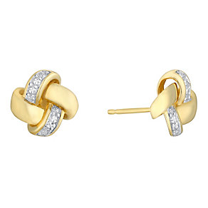 9ct gold diamond knot earrings - Product number 3081680