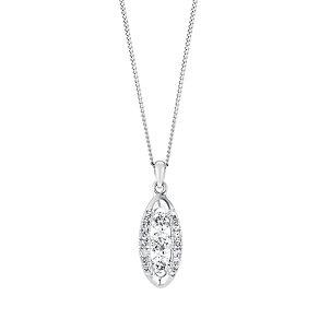 9ct white gold 35pt three stone diamond pendant - Product number 3081729