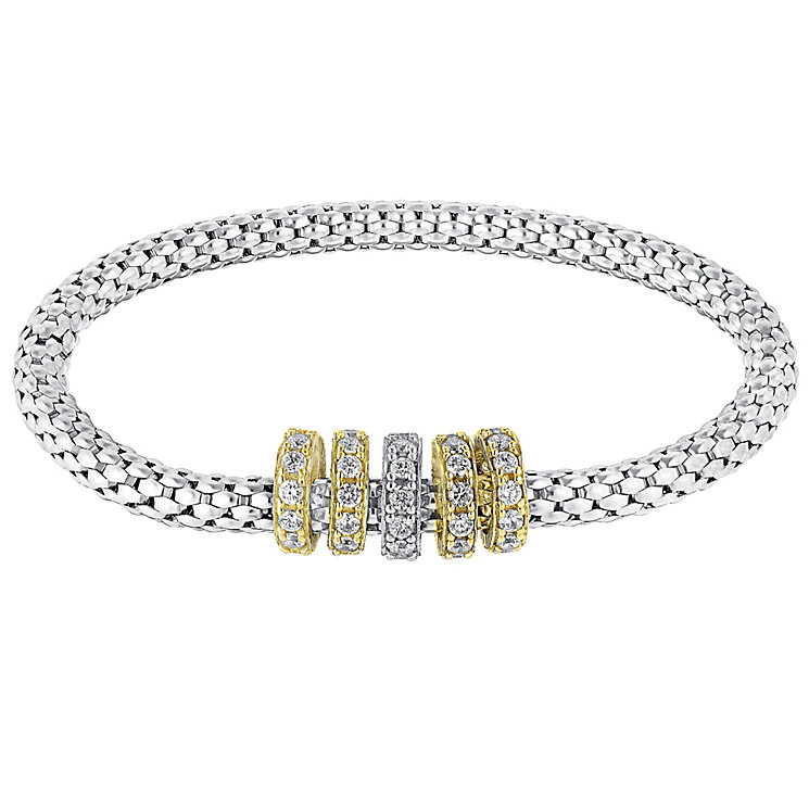 Silver & 9ct gold cubic zirconia elasticated bracelet - Product number 3081753