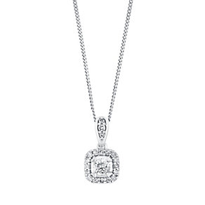 9ct white gold 1/4 carat framed solitaire diamond pendant - Product number 3081788