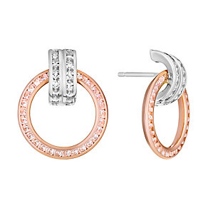 Silver & 9ct rose gold cubic zirconia ring stud earrings - Product number 3081796