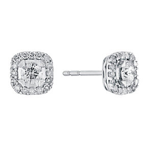 9ct white gold 33pt framed solitaire diamond earrings - Product number 3081818