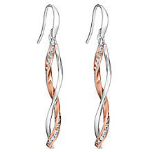 Silver & 9ct rose gold cubic zirconia hook drop earrings - Product number 3081826