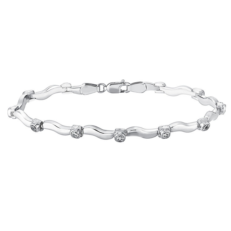 9ct white gold cubic zirconia wave bar bracelet - Product number 3081842