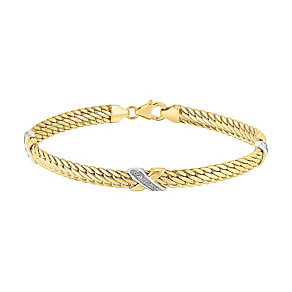 9ct gold cubic zirconia cross bracelet - Product number 3081850