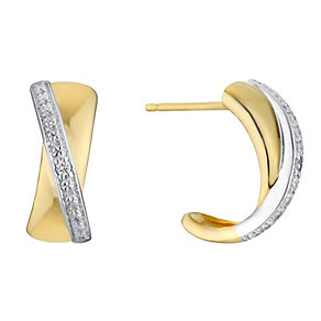 9ct gold diamond hoop earrings - Product number 3081869