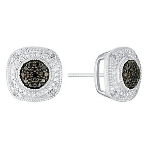 Silver treated black and white diamond earrings - Product number 3081885