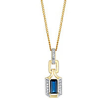 9ct gold diamond & sapphire pendant - Product number 3081990