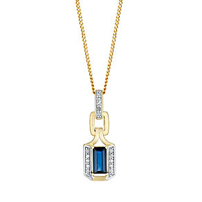 9ct gold 5pt diamond & sapphire pendant - Product number 3081990