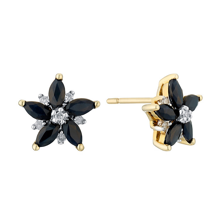 9ct gold sapphire & diamond flower earrings - Product number 3082016