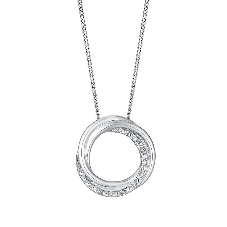 9ct white gold diamond circle pendant - Product number 3082032