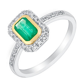 18ct white and yellow gold emerald and 10pt diamond ring - Product number 3082040