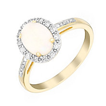 9ct yellow gold opal & 13pt diamond ring - Product number 3082059