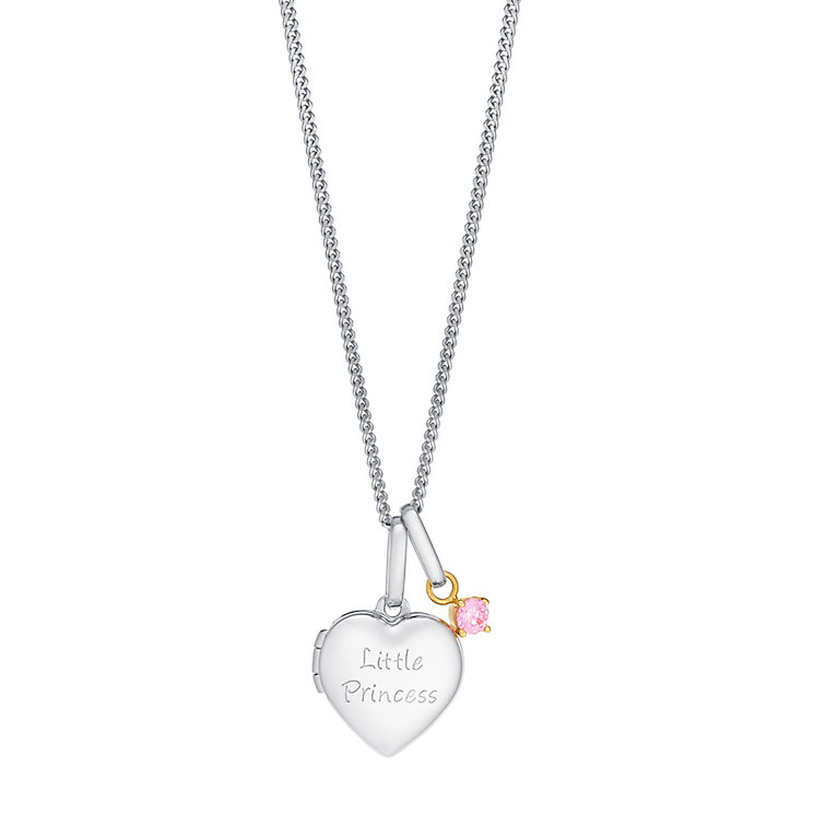 Silver & 9ct Gold Pink Cubic Zirconia Little Princess Locket - Product number 3082075