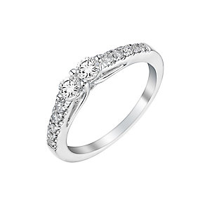 14ct white gold 0.50ct two stone diamond ring - Product number 3082105
