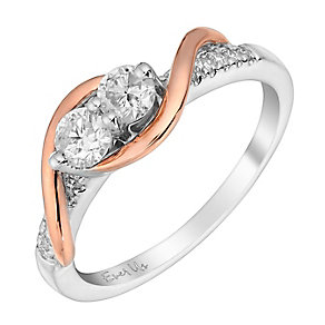 Ever Us 14ct rose white gold 1/2 carat 2 stone diamond ring - Product number 3082377