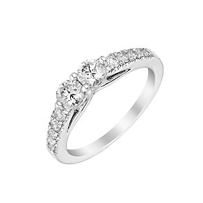 14ct white gold 0.75ct two stone diamond ring - Product number 3082512