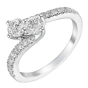 14ct white gold 3/4ct two stone diamond twist ring - Product number 3083055