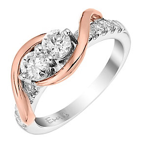 14ct rose and white gold 3/4ct two stone diamond ring - Product number 3083446