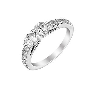 14ct white gold 1ct two stone diamond ring - Product number 3083675