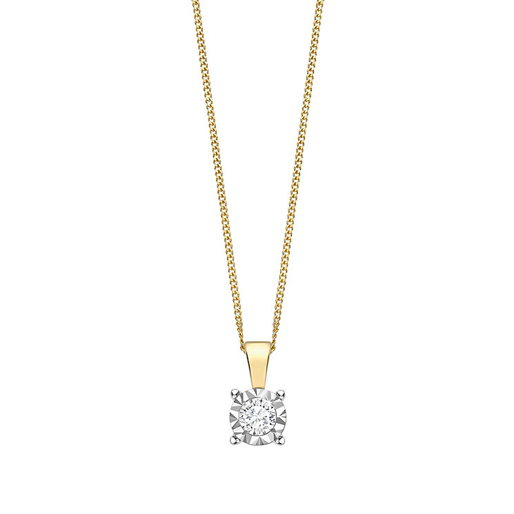 9ct gold 20pt illusion set diamond pendant - Product number 3084582