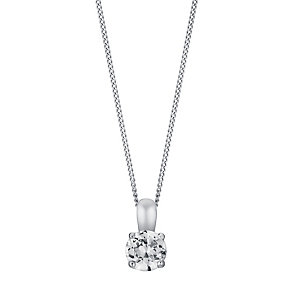 18ct white gold quarter carat 4 claw set diamond pendant - Product number 3084612