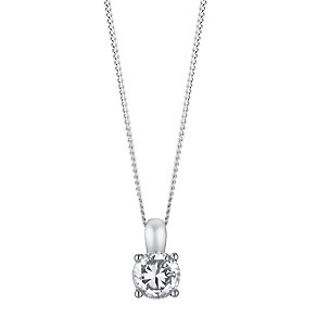 18ct white 33pt 4 claw set diamond pendant - Product number 3084639