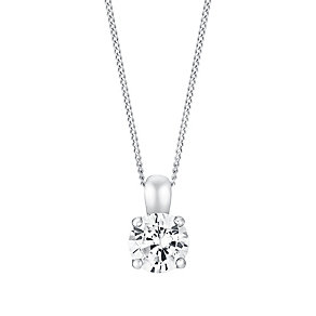 18ct white gold 40pt 4 claw set diamond pendant - Product number 3084647