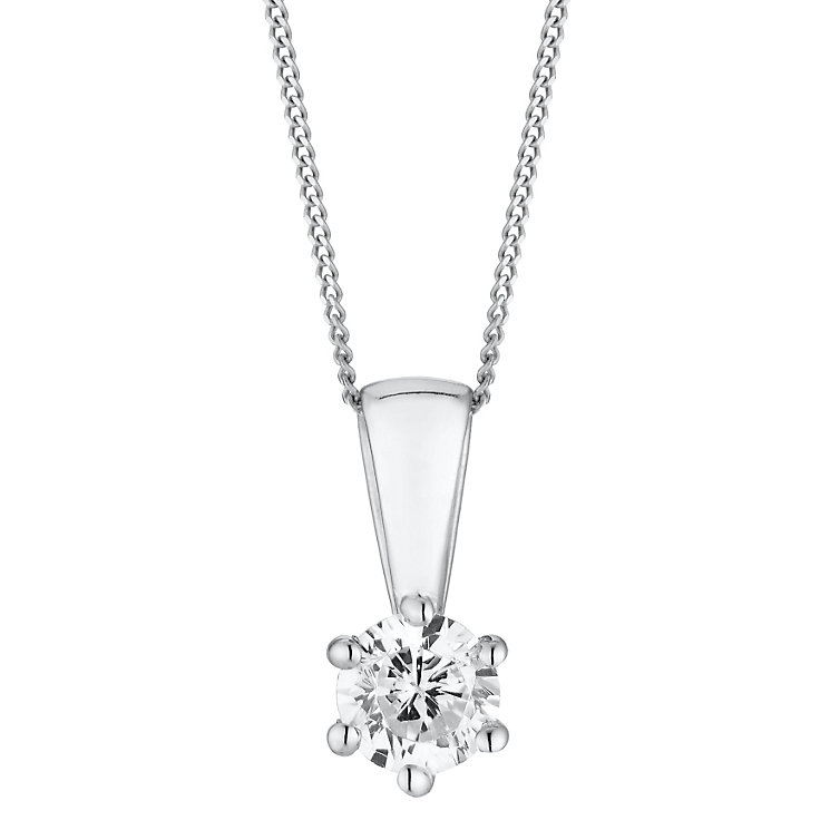 18ct white gold 0.25ct 6 claw set diamond pendant - Product number 3084701