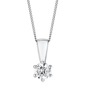 18ct white gold quarter carat 6 claw set diamond pendant - Product number 3084701