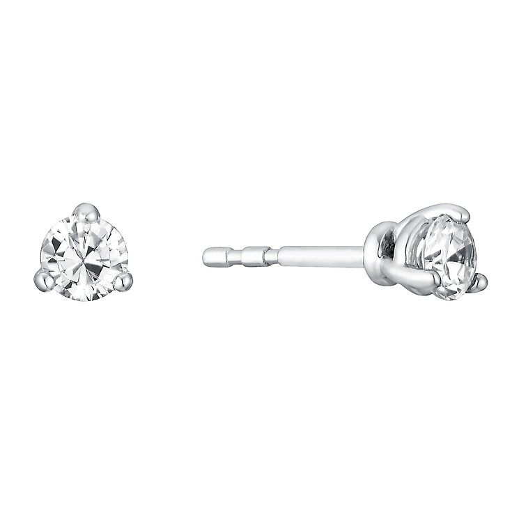 18ct white gold quarter carat 3 claw set diamond earrings - Product number 3084744