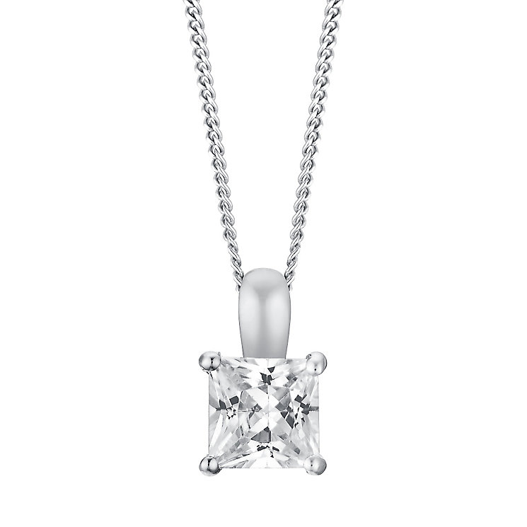 18ct white gold 33pt princess cut diamond pendant - Product number 3084809