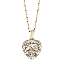 9ct rose gold diamond and morganite heart pendant - Product number 3084817